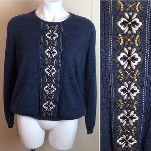 Vtg 90s Boho Grunge Embroidered Pull On Sweater